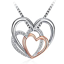 Heart Necklace,J.Rosée Fashion Jewelry Rose Gold Plated 925 Sterling Silver Cubic Zirconia Pendent Necklace,Women Girl Gifts