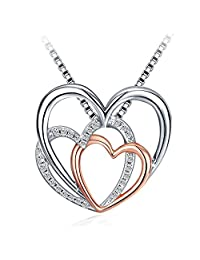 Heart Necklace,J.Rosée Fashion Jewelry Rose Gold Plated 925 Sterling Silver Cubic Zirconia Pendant Necklace,Women Girl Gifts