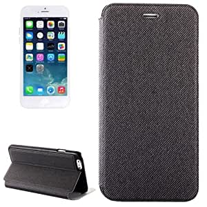 Denim Texture Horizontal Flip Leather Case with Holder for iPhone 6 (Grey)