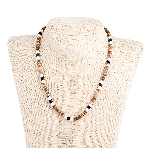 Tiger Coconut Wood Beaded Necklace with Black & White Puka Clam Shell Beads (Jewellery Shell Coconut)