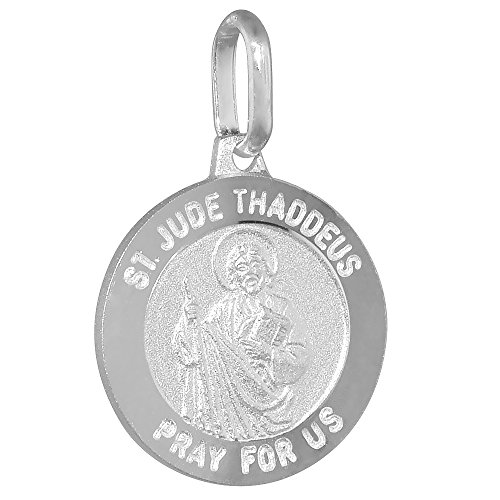 Dainty Sterling Silver St Jude Medal Necklace Round 5/8 inch Italy (Saint Jude Charms For Bracelets)