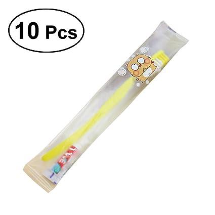 BESTOMZ Cepillo de dientes desechable con pasta de viaje paquete de 10 (Colores Mezclados)