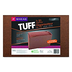 Smead TUFF Expanding File, Daily (1-31), 31 Pockets, Legal Size, Redrope-Printed Stock (70469)