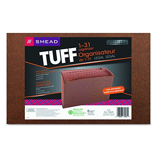 Smead TUFF Expanding File, 31 Pockets, Daily (1-31), Legal Size, Redrope (70469)