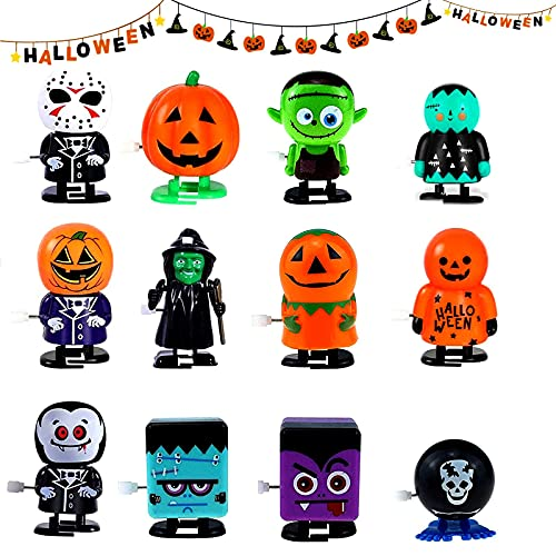 12 pcs Halloween Wind Up Toy, Jumping and Walking Clockwork Toys, for Halloween Party Favors Goody Bag Filler