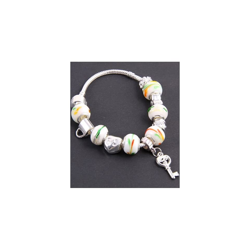Fashion Jewelry Desinger Murano Glass Bead Bracelet with Pattern White