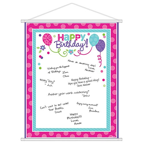 Charming Purple and Teal Birthday Party Scroll Sign-In Sheet , Multi , 24