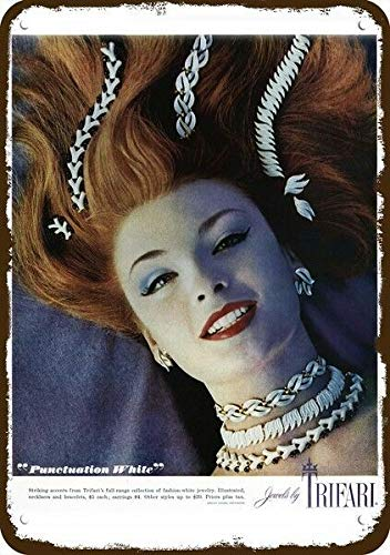Yilooom 1960 Trifari Punctuation White Jewelry Sexy Vintage Look Replica Metal Sign 7