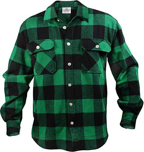 AccessoriesClothing New Heavyweight Plaid Flannel Shirt Brawny Buffalo Long Sleeve Checkered Lumberjack (Best Heavyweight Flannel Shirt)