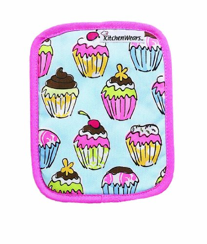 RITZ KitchenWears Quilted Cotton Printed Pot Holder,  9.5-inches x 7.5-inches, Cupcakes