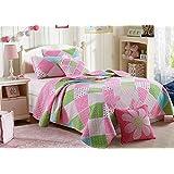 Stitching Polka Dot Floral Patchwork Bed spread Quilts Set for Girls Children Kids (Queen, Pattern2)