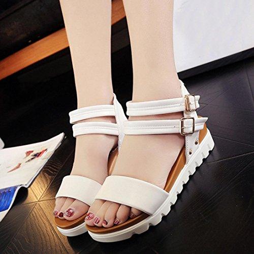 KEERADS Women Sandals, Clearance! Summer Ladies Low Wedge Heel Plat Flatform Strappy Shoes White
