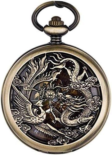フェニックス、自動巻き懐中時計刻まれた結婚式レトロフリップのカップル機械式腕時計中国風懐中時計、色名:1 (Color : 1)