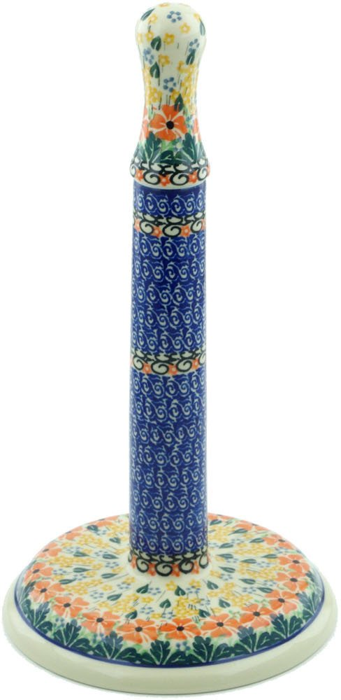 Polish Pottery 13-inch Paper Towel Stand made by Ceramika Artystyczna (Golden Daisies Theme) Signature UNIKAT + Certificate of Authenticity