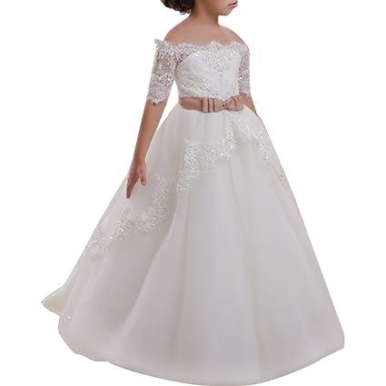 Blumenmädchen Festkleider Kleid Lang Brautjungfern Hochzeit Festlich Kleidung Festzug Appliques Pailletten Spitze Tüll Erste