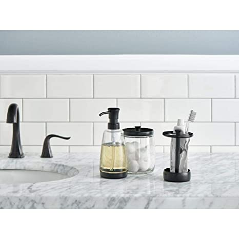Amazon.com: Delta 3-Piece Bathroom Countertop Accessory Kit: Soap Glass Dispenser, Toothbrush Holder, Glass Apothecary Jar (Venetian Bronze): Home & Kitchen