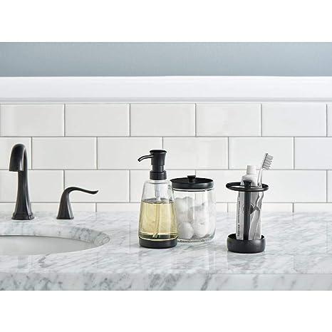 Amazon.com: Delta 3-Piece Bathroom Countertop Accessory Kit: Soap Glass Dispenser, Toothbrush Holder, Glass Apothecary Jar (Venetian Bronze): Home & Kitchen