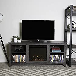 New 58 Inch Wide Charcoal Colored Television Stand with Fireplace Insert from Home Accent Furnishings