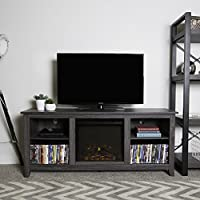 New 58 Inch Wide Charcoal Colored Television Stand with Fireplace Insert