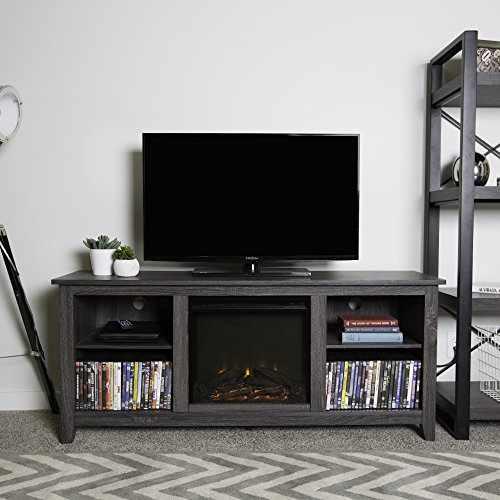 New 58 Inch Wide Charcoal Colored Television Stand with Fireplace Insert by Home Accent Furnishings