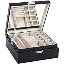 Jewelry Box Organizer 40 Section Display Tray Storage Case Drawer 2 Layers Large Mirror Girls Teens Women Holder for Earring Ring Necklace Bracelet PU Leather Black SSH01B