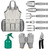 NEX Garden Tools Set- 9 Pieces Heavy Duty Gardening Kit Garden Gloves, Garden Tote Sprayer 6-pcs Ergonomic Gardening Tools, Gift Men & Women