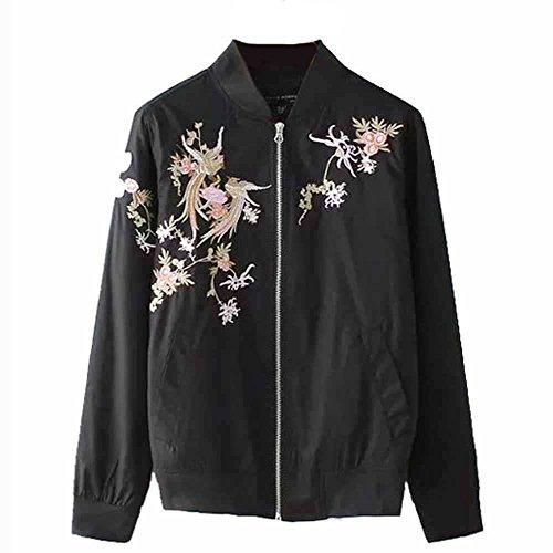 (Viport Women's Phoenix Embroidered Bomber Jacket Loose Jacket Black Retro Vintage Embroidery)