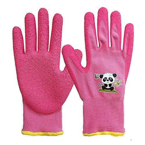 Guantes de jardineria para ninos de 7 a 9 anos, palma de goma para resistencia al agua y a la suciedad, rosa