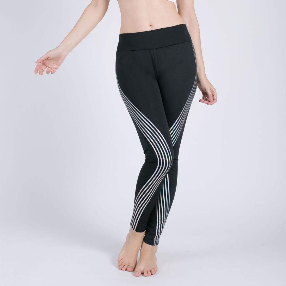 Pantalones Yoga Deportivas Mujer Impresión de Rayas Legging Slim ...