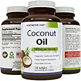 Coconut Oil Candida Pure Organic Coconut Oil  Natural Supplement for Heart Health  Supports Normal Blood Sugar & Cholesterol Levels  Cold Pressed & Extra Virgin  1000mg  120 Softgels  By Huntington Labs