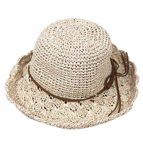 Women Foldable Summer Sun Hats,Cywulin Straw Large Brim Crochet Knit West Cowboy UV Beach Cap (E) Brim Crochet