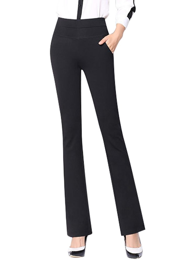 ABCWOO Womens Slimming High Waist Stretchy Boot Cut Dress Pants Black Small