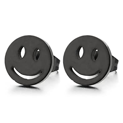 Screw Back 2pcs Smiling Face Stud Earrings in Steel for Men Women Boys
