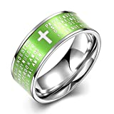 Titanium Black Green Purple Turquoise IP Faceted Spanish Lord's Prayer Band Ring Scripture Cross Prints