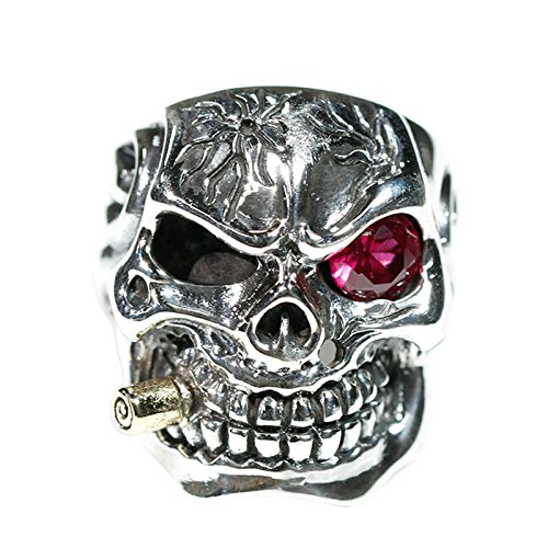 Adisaer Biker Rings Silver Ring for Men Red Eye Smoking Skull Ring Size 9 Vintage Punk Jewelry by Adisaer