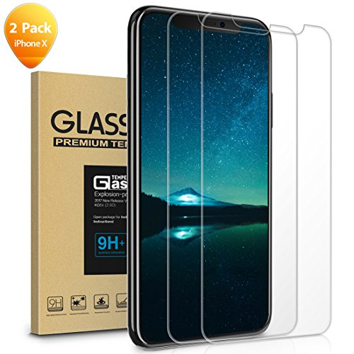 Screen Protector Compatible iPhone Xs iPhone X,Tempered Glass ,Anti Scratch,9H Protection,Perfect Fit,Ultra HD Clarity,Anti Finger Print,2 pack