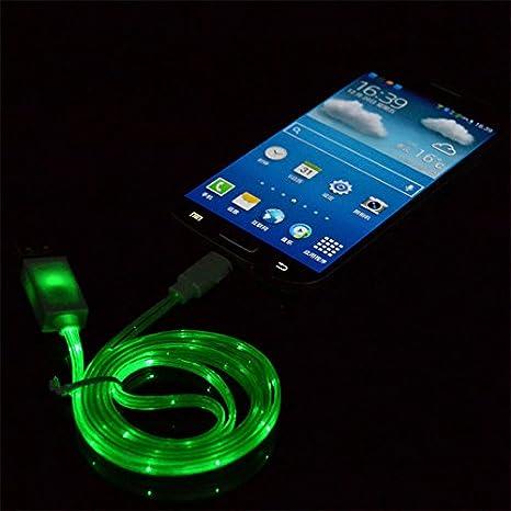 Amazon.com: VISIBLE brilla en la oscuridad luz led micro USB ...