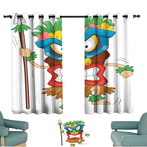 "Tiki Bar Decor Simple Curtain Native Man Wearing Mask Illustration Cartoon Tribal Costume Primitive Ritual for Living, Dining, Bedroom (Pair) 55"" Wx45 L Multicolor"