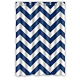 """Eco-friendly Navy Blue and White Chevron Pattern Shower Curtain Waterproof Bathroom Curtain Liner with Hook 48"""" x 72"""""""