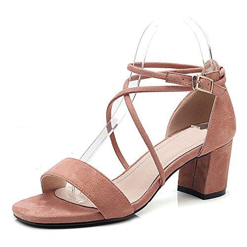 Parti Bride du Chaussures Sandales Hauteur Bloc Dames Dames la Cheville 6cm Peep Talon Ruiren Talon Toe à Strappy abricot CqwfgZxw7t