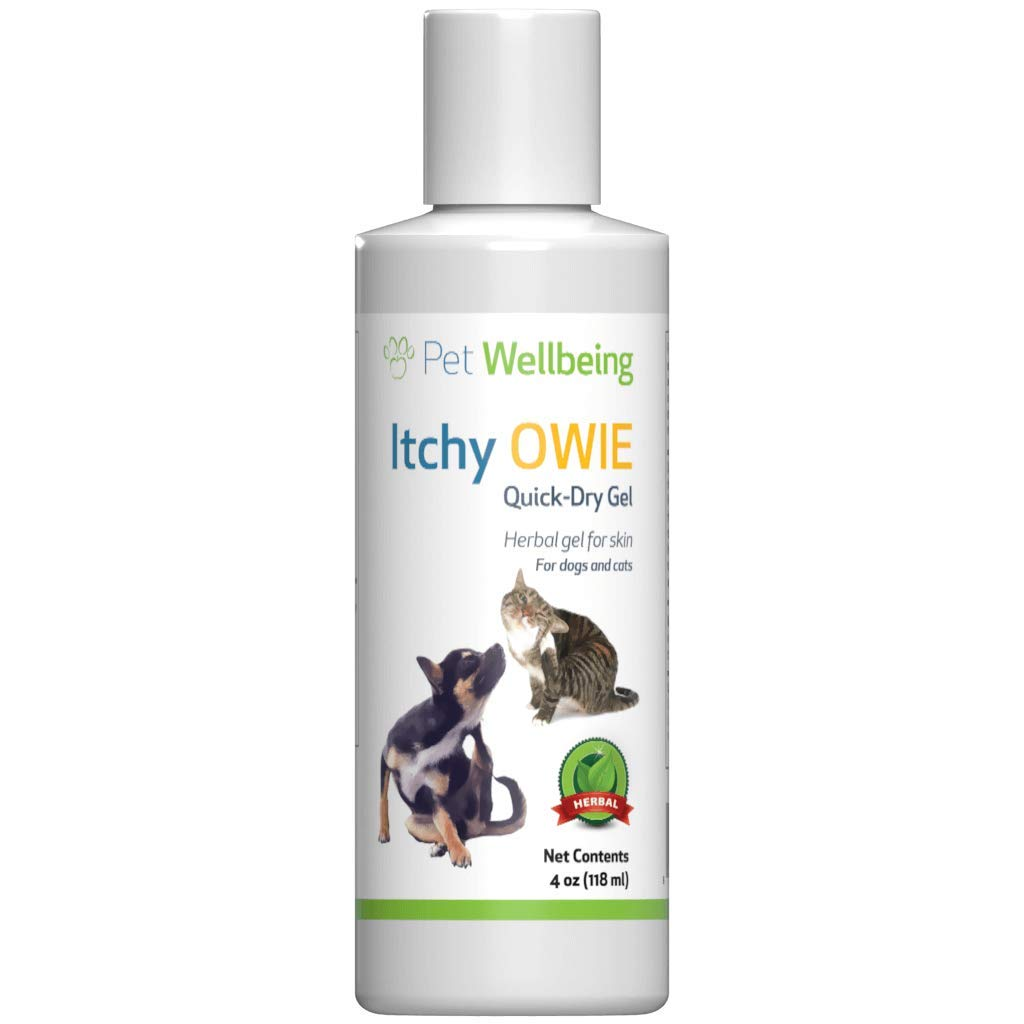 Pet Wellbeing Itchy Owie Quick-Dry Gel for Dogs - Natural Dry Skin Relief for Canines - 4oz (118ml) by Petvvvv