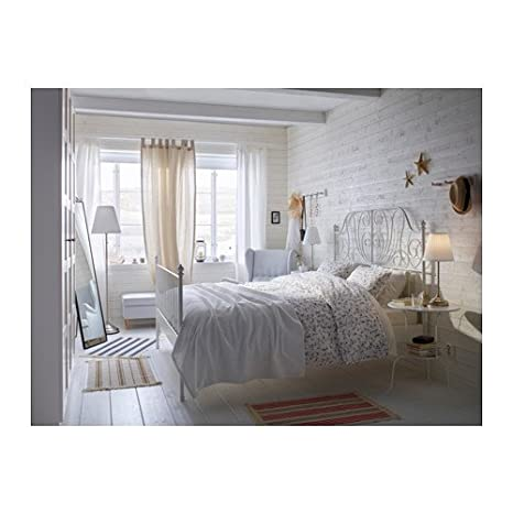 Amazon.com: Ikea Leirvik Bed Frame White Queen Size Iron Metal ...