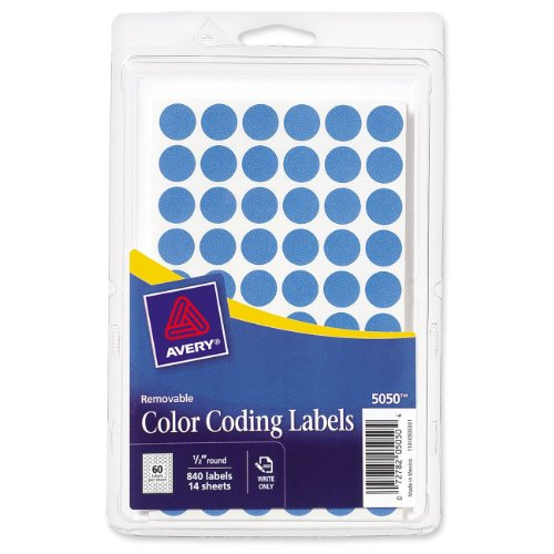 - Avery Removable Color Coding Labels, 0.5 inch Round, Light Blue, Pack of 840 (5050)