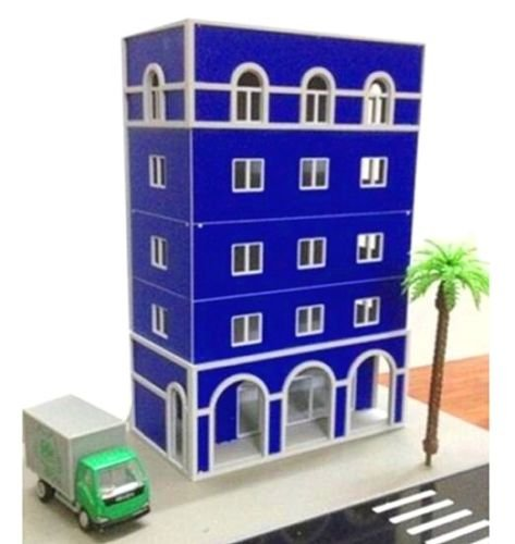 EatingBiting(R) Outland Models Building Railway 1/87 1:87 HO Scale Modern 5-Story Grand Blue Building for DIY Sand Table Garden Micro Landscape Ornaments Decor Assembling Model Outland Realism -