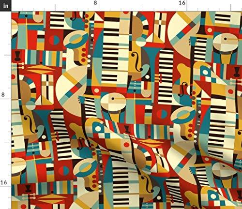 - Spoonflower Geometric Jazz Fabric - Geometric Musical Jazz Home Decor Jazz Abstract Geometric Mid Century Modern Retro Music by Celiaforrester Printed on Linen Cotton Canvas Ultra Fabric by The Yard