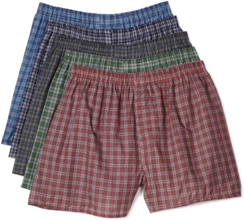 Fruit of the Loom Men's  Tartan Boxer, Assorted, Large(Pack of 5) (Boxers Tartan Mens)