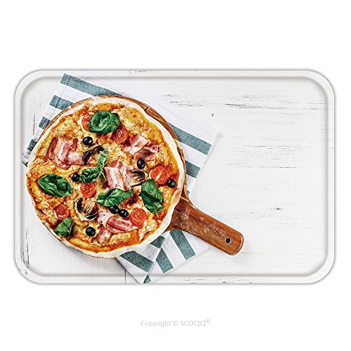 Flannel Microfiber Non-slip Rubber Backing Soft Absorbent Doormat Mat Rug Carpet Top View Very Hot Italian Pizza On White Wooden Table With Mushrooms Basil Tomato Olives And 423081508 for Indoor/Outdo