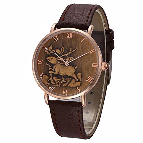 Howstar Wrist Watch Fashion Rabbit Pattern Men Quartz Wrist Watch Leather Band Watch,Nice Present For Holiday&Birthday (C)