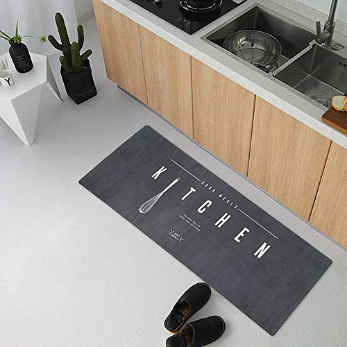 USTIDE Suede Stylish Secure Kitchen Rug Runner,Modern Collection Oil Proof Kitchen Dining Living Hallway Bathroom Pet Entry Rugs 17.7″ x 70.9″