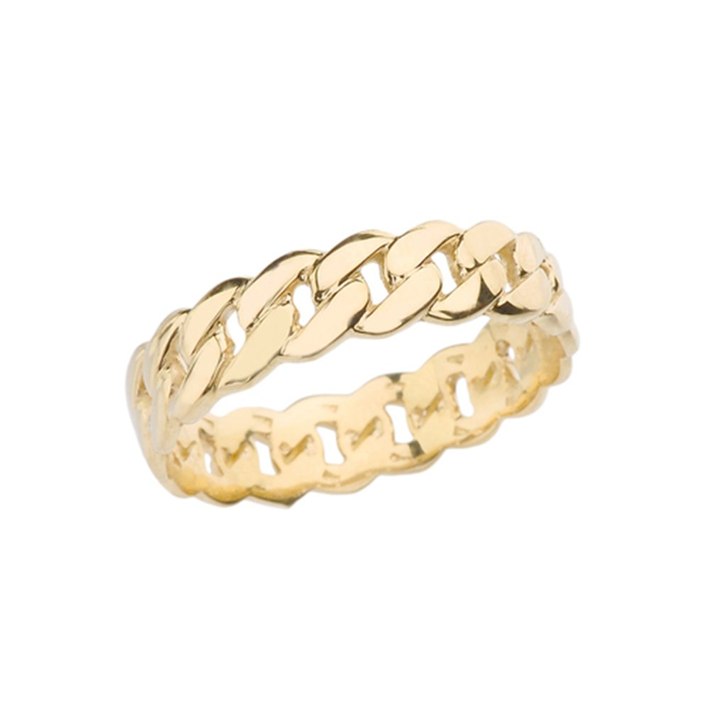 10k Gracious Yellow Gold 5 mm Cuban Link Chain Eternity Band Ring (Size 7.75)